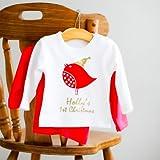 Robin de Navidad personalizable Glitz camiseta Tops Rojo o blanco blanco Talla:6-12 meses