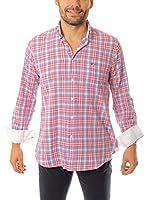 VICKERS Camisa Hombre Harvard (Rosa / Azul Claro)