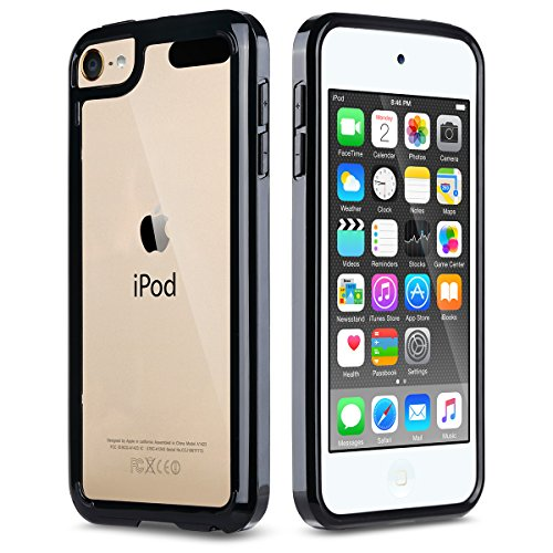 iPod Touch 6 Case,iPod Touch 5 Case,ULAK [CLEAR SLIM] Hybrid Premium Clear Bumper TPU/Scratch Resistant Hard PC Back Cover/Corner Shock Absorption Case for Apple iPod Touch 5 6th Gen_Black (Protecting Ipod 5 Cases compare prices)