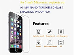 ASCARI Micromax yuphoria yu tempered glass screen protector 9h explosion-proof 2.5D 0.3mm 5inch tempered glass guard