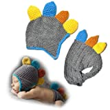 Baby Boy Girl Crochet Dinosaur with Yellow Brown Spikes and Diaper Cover Set Costume Photography Prop 6-9 Months +Free Gift,Lace Doilies,Random Colors