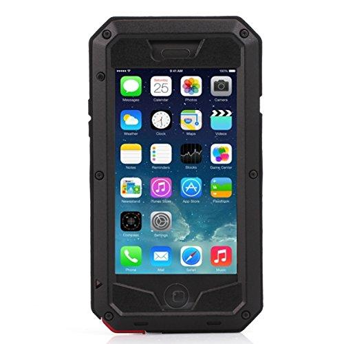 【Imarku】Apple iPhone 6 4.7インチ ケース カバー 軍用 耐衝撃 防塵 強化ガラスフィルム 完全保護 (ブラック) [並行輸入品]
