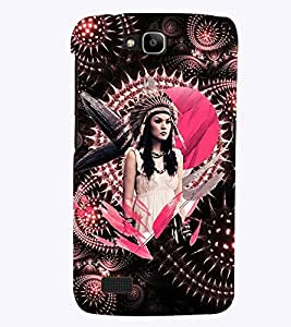 PrintVisa Stylish Cool Girl Tribal Pink 3D Hard Polycarbonate Designer Back Case Cover for Huawei Honor Holly