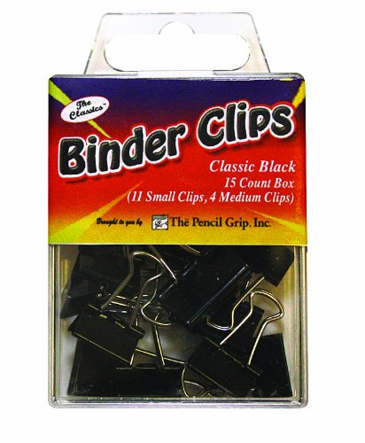 Pencil Grip The Classics Binder Clip, 15 Count Mixed Box (11 Small, 4 Medium), Black (TPG-181) (Mixed Binder Clips compare prices)