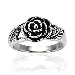Chuvora .925 Sterling Silver Oxidized Detailed Rose Flower with Leaves Band Ring for Women Size 6 - Nickel Free
