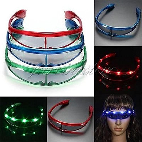 12 Pairs of LED Spaceman UFO Flashing Light Up Party Glasses Shades