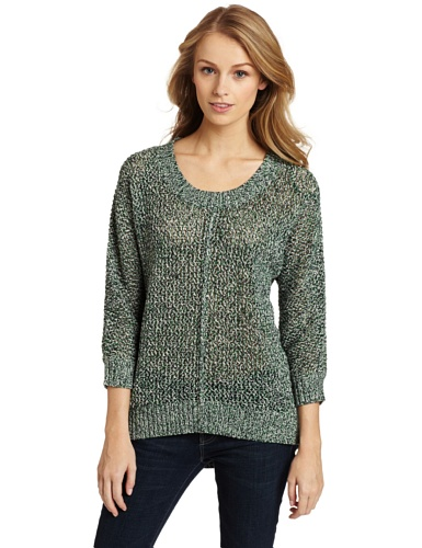 Chaus Women's Marled Mesh Stitched Sweater, Jade Marled, Medium