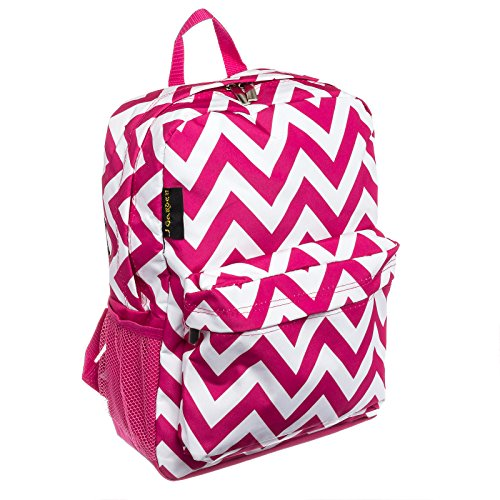 Womens Chevron Backpack Bag w/ Pink Trim (Pink & White)