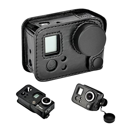 Protective Carrying Case Pancellent with Quick Release Lens Cover 180 Degree Rotation Design Clip Mount Adapter For Official Gopro Hero 3/3+/4 Camera - Black