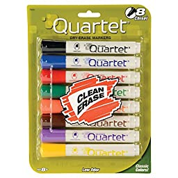 Quartet Dry Erase Markers, Chisel Point, Low Odor, Assorted Colors, 8-Pack (79908A)