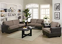 Big Sale 3pc Sofa Set with Taupe Microfiber in Dark Brown Leatherette