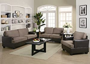 3pc Sofa Set with Taupe Microfiber in Dark Brown Leatherette