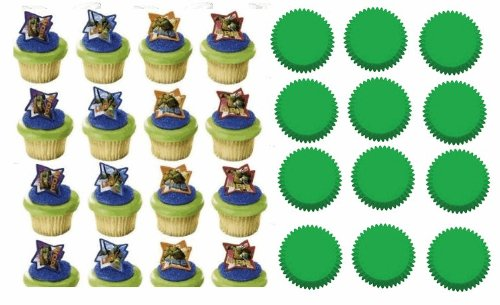 Sale!! 24 Teenage Mutant Ninja Turtles Cupcake Decoration Rings