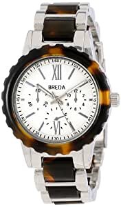 Breda Women's 1632-Silver/Tort Nora Tortoise Shell Bezel and Silver Dial Watch