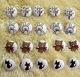 超キュート かわいい クマ ネコ ウサギ お花の咲く木 小さなくるみボタン 4タイプ×5個 20個セット ハンドメイド ヘアゴム作りなどにも