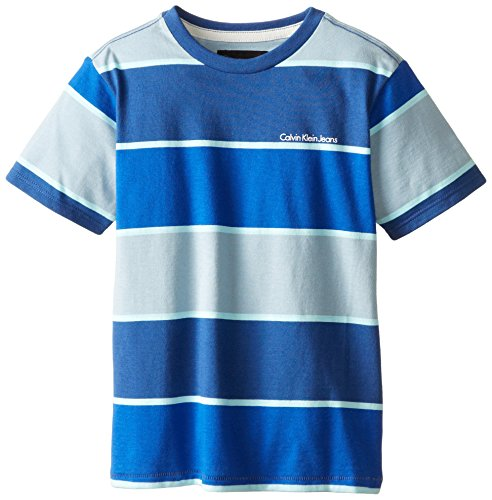 Calvin Klein Little Boys' Fast Forward Yarn Dye Stripe Crew Neck Tee, Blue, X-Large
