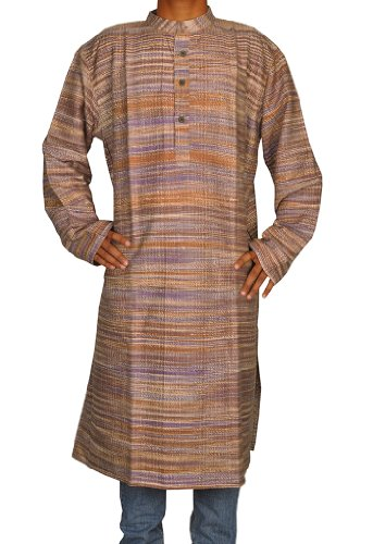 Handmade Casual Wear Indian Khadi Mens Long Kurta Fabric For Winter & Summer Size-4XL