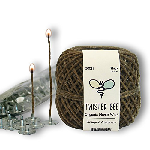 100% Organic Hemp Candle Wick + Wick Sustainer Tabs | Twisted Bee, 200ft(Thick) x 200pcs (Beeswax Candle Dye compare prices)