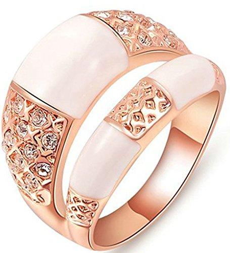 alimab-placcato oro 18K Donna Anelli Wedding Bands Triple placcato oro rosa zirconi, Lega, 17, colore: oro rosa, cod. xxjiezhityix757