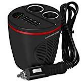 SUNGOLDPOWER Black 12V/24V Car Cup Holder Charger Cigarette Lighter Splitter Car Charger Power Adapter With 4 USB Ports And 2 Cigarette Lighter Charging Sockets LED Fuse For Apple And Android Devices