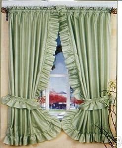 SAGE GREEN RUFFLED PRISCILLA FABRIC WINDOW CURTAIN