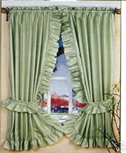 Sage Green Ruffled Priscilla Fabric Window Curtain Home Kitchen