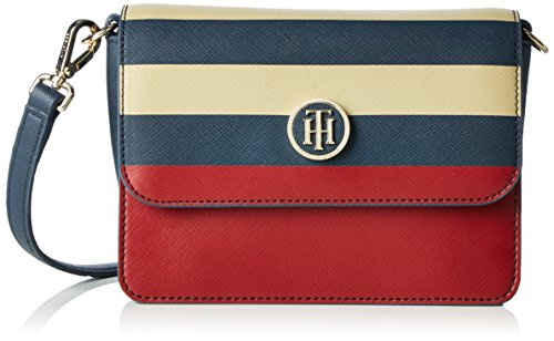 Tommy Hilfiger Damen Honey Flap Crossover Stripe Umhängetaschen, Mehrfarbig (Midnight / Scooter Red / Oatmeal 901 901), 18x14x8 cm thumbnail