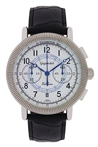Gigandet Reloj de Hombre Cuarzo Red Baron IV Cronógrafo Analógico Cuero Negro Blanco G19-004