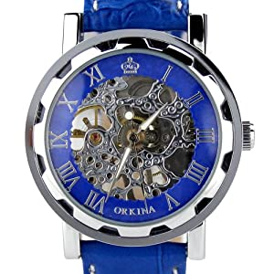 Orkina Silver Case Hand-Wind Movement Dial Blue Leather Band Wrist Watch KC02...