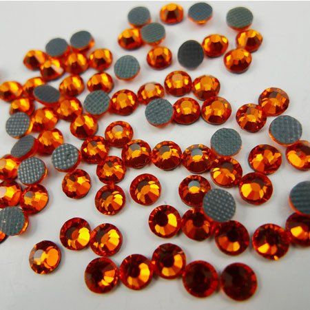 NEW APS Sewing CZECH Quality 10gross (1440pcs) HotFix Rhinestones Crystals - 5mm/20ss, Hyacinth (Dark Orange) Color