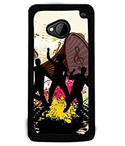 Fuson 2D Printed Music Designer back case cover for HTC One M7 - D4168