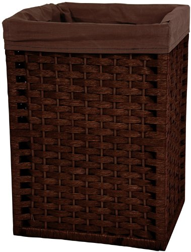 "17"" Open Top Natural Fiber Laundry Basket w/ Cotton Liner - Mocha"