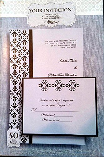 Wilton 1010 184 black white splendor invitation kit 50 for Wedding invitation kits 50 count