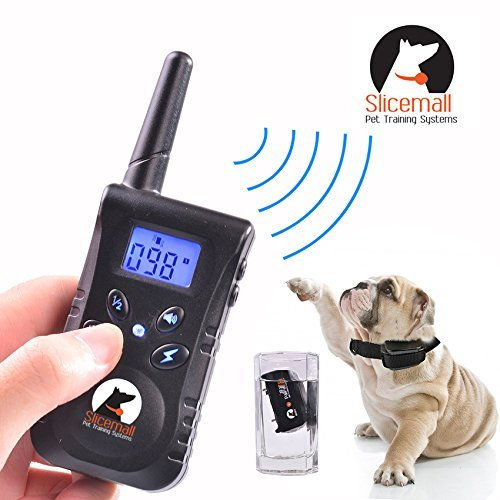 Slicemall 500 Yards Rechargeable and Waterproof Remote Electric Dog Training Collar No Bark Control Collars Tone/Vibration/Shock Blue Backlight LCD For 15 To 120 Lbs Pets