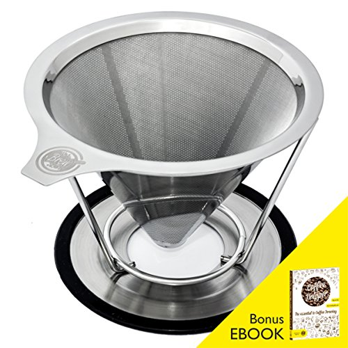 Pour-Over-Coffee-Filter-BREW-Permanent-Reusable-Stainless-Steel-188-304-double-mesh-Cone-Coffee-Dripper-Paperless-Pour-Over-Coffee-Maker-with-Stand-for-1-4-cups