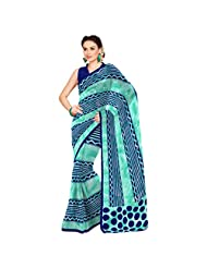 Inddus Exclusive Women Awesome Blue Cotton Printed Saree