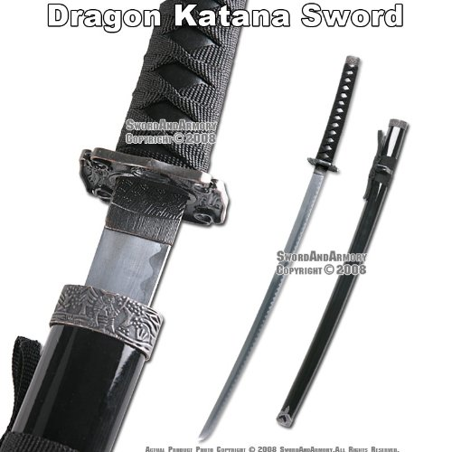 Black Classic Japanese Dragon Samurai Katana Sword New