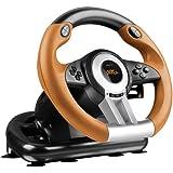 Speedlink Drift O.Z. Volant pour PC (Levier de Vitesses, Pédales Accélération et Frein, Xinput et Directinput, Vibrations, Sensibilité Réglable) Orange Noir