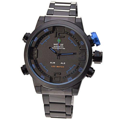 Mens Army Military Led Date Week Alarm Sports Quartz Wrist Watch - Blue Button