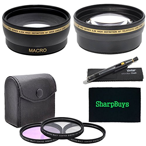 52Mm Multi-Coated 3 Piece Digital Filter Kit (Uv-Cpl-Fld) + 0.43X Professional Hd Auto Focus Wide Angle Lens With Macro & Pro Series 2.2X High Definition Af Telephoto Lens + Lens Cleaning Pen + Sharpbuys Microfiber Cloth For The Nikon D3000 Digital Slr Ca