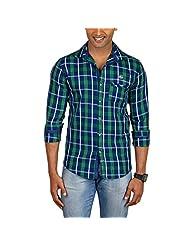 Sleek Line Men's Banded Collar Cotton Shirt - B00TRU3U9C
