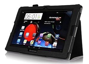 Funda de Cuero Lenovo IdeaTab A10-70 10.1 Pulgadas Smart Cover Slim Case Stand Flip A7600-H (Negro)  Electrónica Comentarios y más información