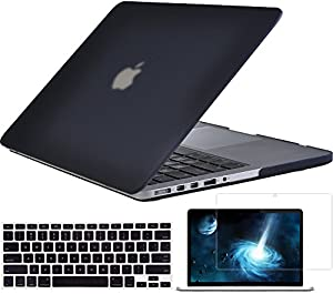 """Topideal 3 in 1 Matte Hard Case Cover for 13-inch MacBook Pro with 13.3"""" Retina Display (Model A1425/A1502) + Keyboard Cover + Screen Protector -Black"""