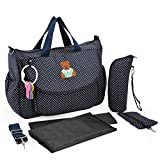 L.Sense Deluxe Multi-function Waterproof Tote Baby Diaper Bag Set 5 In 1 (Blue)