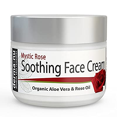Soothing Face Cream for Wrinkles and Anti Aging - Daily Moisturizer with Rose Oil + Organic Aloe Vera + Green Tea + Vitamin B5 for Wrinkle Repair - Day Cream for Fine Lines - 2oz