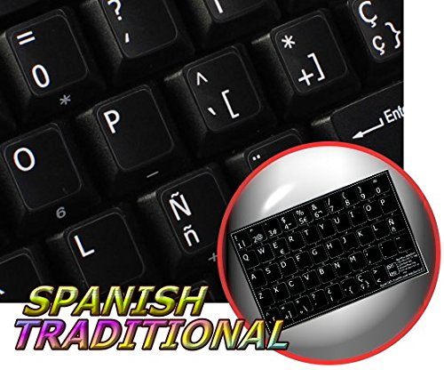 Spanish (Traditional) Non-Transparent Keyboard Sticker For Laptop, Desktop With White Lettering And Black Background