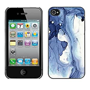 Omega Covers - Snap on Hard Back Case Cover Shell FOR Apple iPhone 4 / 4S - Blue Abstract Winter Ice Lake Water Fluid