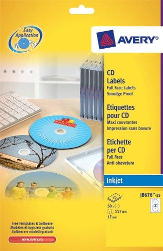 AVERY Boîte de 50 étiquettes jet d encre monochrome pour CD et DVD J8676-25 AVERY Boîte de 50 ...