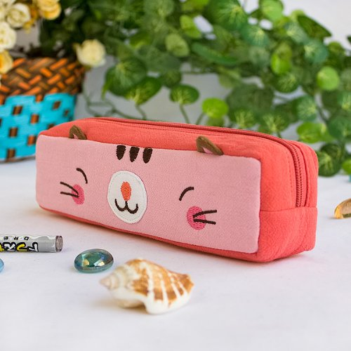 [Pinky Kitten] Embroidered Applique Pencil Pouch Bag / Cosmetic Bag / Carrying Case (7.3*1.8*1.9)