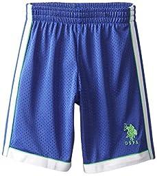 U.S. Polo Assn. Little Boys\' Mesh Sport Short with Dazzle Lining, Cobalt Blue, 7